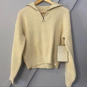 bp cozy waffle knit half zip pullover crop